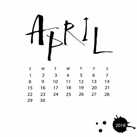 Vector calendar for April 2018.
