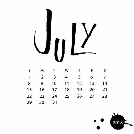 Vector calendar for July 2018. Illustration