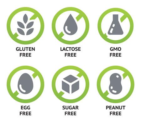 解放遺伝子組み換え食品のラベルのセット、砂糖無料やアレルゲン フリー製品です。