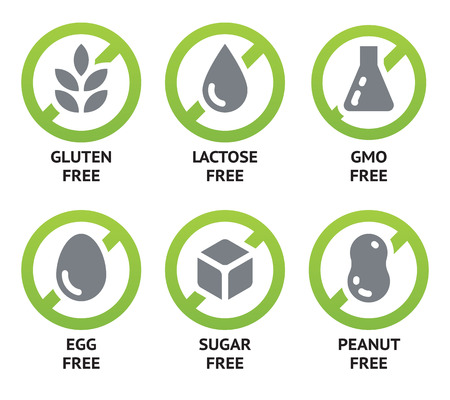 no symbol: Set of food labels for GMO free, sugar free and allergen free products.