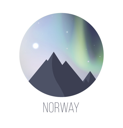 Illustration of Northern Lights over mountains. Illustration