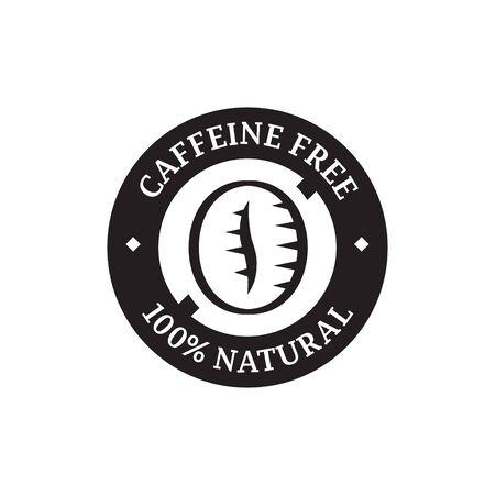 caffeine: Caffeine free label for food packaging.
