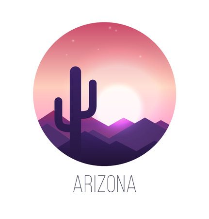 arizona sunset: Desert sunset landscape with cactus and hills. EPS 10. RGB. Transparencies