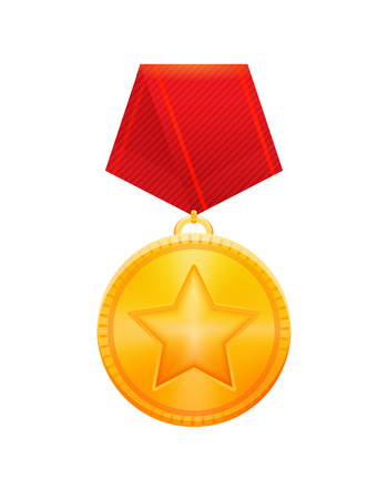 Illustration of golden star award medal with red ribbon. EPS 10. RGB. Transparencies
