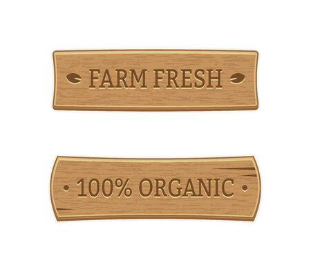 Banner in legno Etichette di alimenti freschi biologici e di fattoria. EPS 10. RGB. Trasparenze e miscele