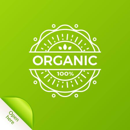 Linear organic badge with open here element. EPS 10. RGB. Transparencies and blends