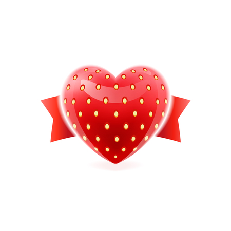 Shiny strawberry heart. EPS 10. RGB. Transparencies, blend and mesh