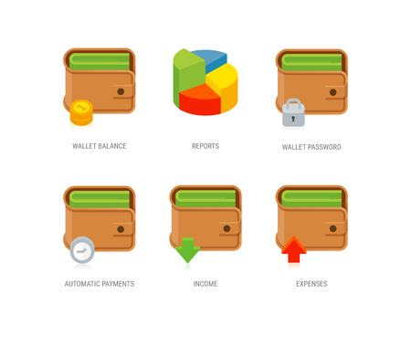Set of wallet icons, reports icon. Wallet app icons. EPS 10. RGB. Transparencies