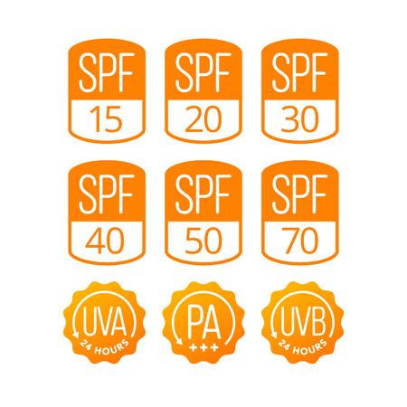 Conjunto de iconos (SPF, UVA y UVB) para el embalaje de cosméticos de protección solar. EPS 10. RGB Foto de archivo - 83796305