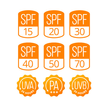 Set of icons (SPF, UVA and UVB) for sunscreen cosmetics packaging. EPS 10. RGB