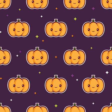 Halloween seamless pattern with cute pumpkins for wrapping paper. EPS 10. RGB