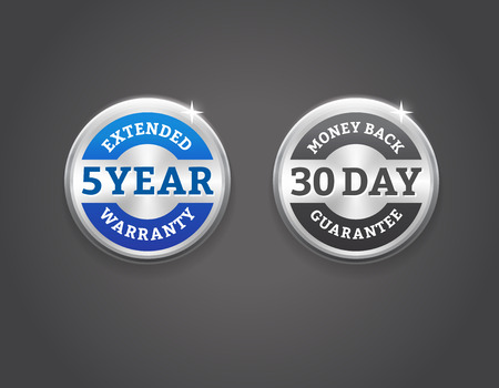Extended warranty and 30-day money back guarantee silver badges. EPS 10. RGB Çizim