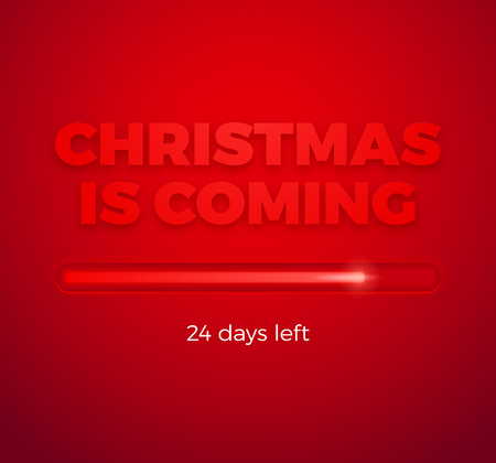 Christmas progress bar on red background for web banner or newsletter. EPS 10. RGB