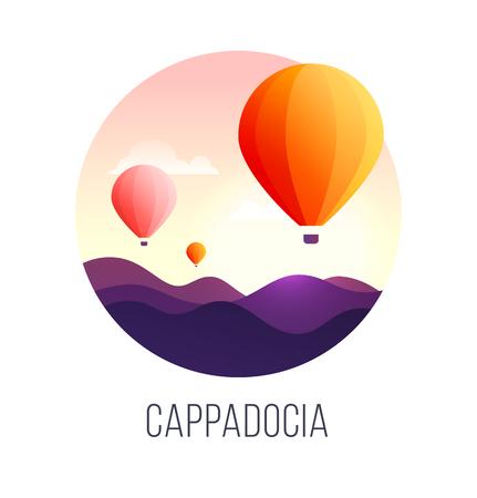 Illustration of a popular turkish travel destination Cappadocia. Balloons in the sky. EPS 10. RGB. Transparencies Illustration