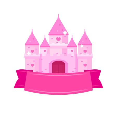 Illustration of flat princess castle with pink ribbon. Fairytale royal palace with gate and heart shape windows