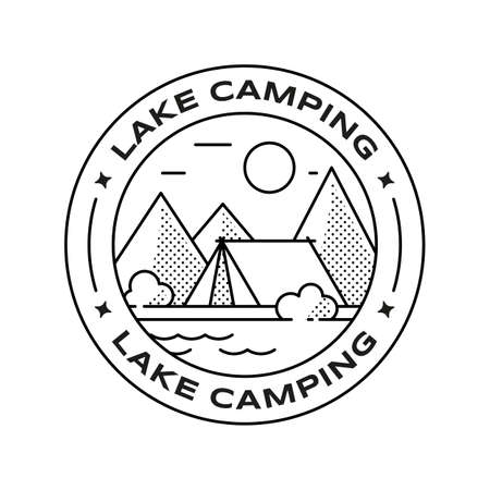 Summer travel camping concept. Landscape with mountains and lake. Vector illustration of retro round badge in linear style. Editable stroke  イラスト・ベクター素材