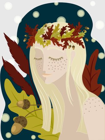 Tender autumn girl with long blond hair in a wreath of oak leaves and acorns on a deep blue background with orange, red and yellow autumn leaves.