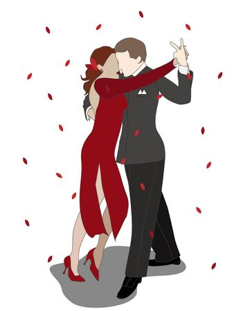 Sweet couple of man and woman dancing tango among the autumn leaves. Monochrome colors on a white background. Vector illustration. Иллюстрация