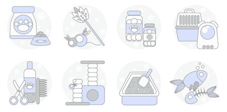set of icons for pet shop, veterinary and cat care with food, toys, medicine, carrying, grooming, scratching post, litter box and treats.