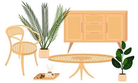 Vector set of country rattan furniture with plants contains a chair, a coffee table, a cupboard and houseplants