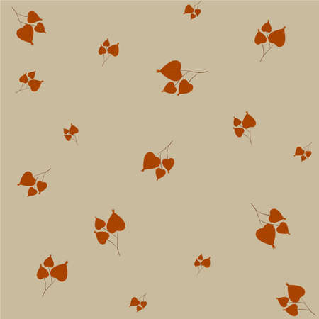 Vector autumn pattern with physalis on beige background seamless pattern