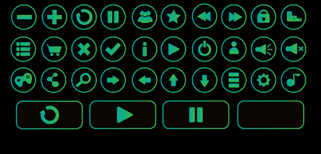 Zetro black game ui buttons for android and ios games