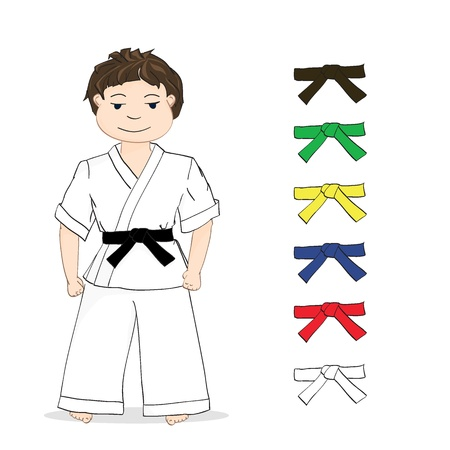 karate: boy karate and colored belts