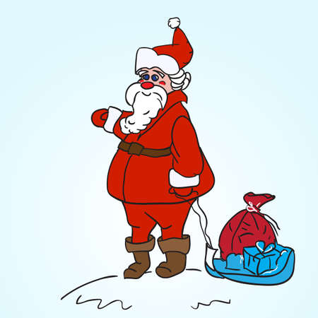 toy sack: Santa Claus Carrying A Toy Sack