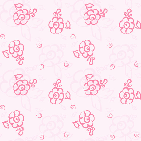 Seamless floral pattern on a pink background. doodle. vector. Vector