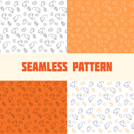 seamless pattern for textile and craft of mice and cheese. Set black and white, orange, blue on white Stock Vector - 32161474