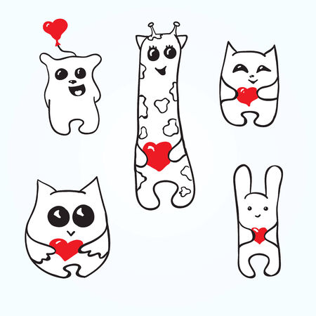 Set doodle animals with hearts. Valentines Day Vector
