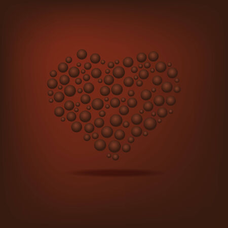 red shape: Heart of the bubbles in shades of chocolate Valentines Day. Can be used in cover design, book design, website background, CD cover, advertising.