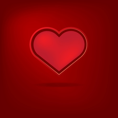 postcard background: Red heart Valentines day card on red background. Vector