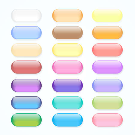 Set of colored pastels web buttons for your design  Vector