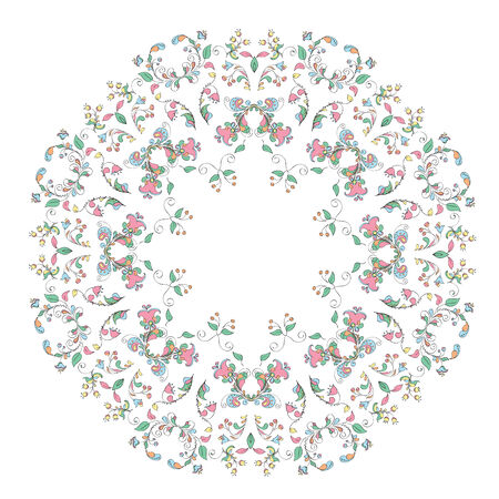 Ornate round lace pattern, circle background with floral details.floral motifs in Russian style