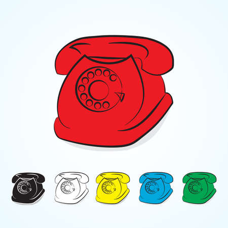 Set of old rotary phones of different colors Vector