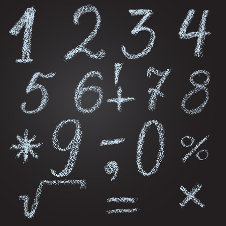 sketch of numbers and mathematical signs in chalk by hand on a black background Vector