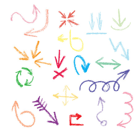 arrows, pointers - in style doodle with crayons on a white background. Vector