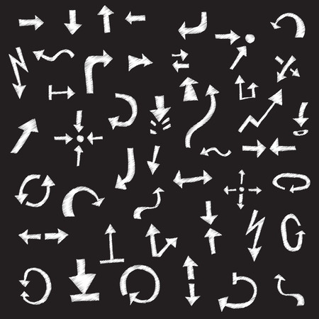 arrows, pointers - in style doodle with chalk on a black background. Vector