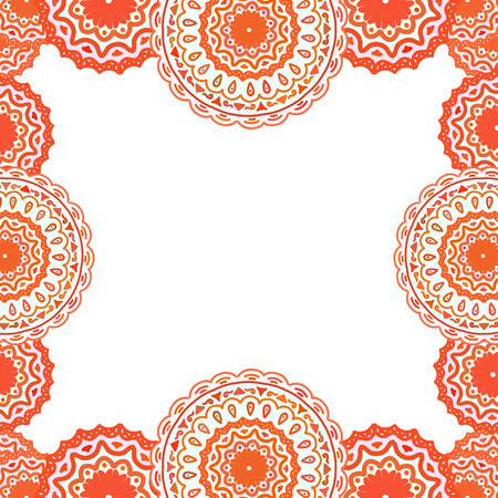 paganism: abstract background, frame - pink mandala. Doodle style Illustration