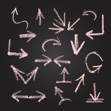 Arrows, lines, pointers  - hand drawn. Set 2, isolated on black background, written in red chalk. Graphic Design Editable For Your Design. Vector
