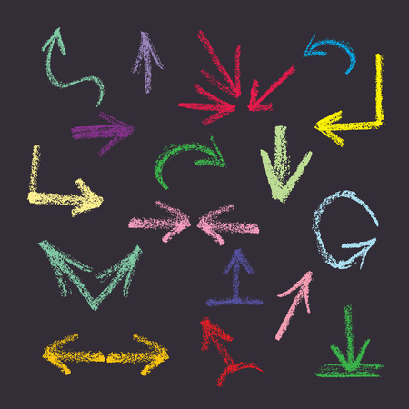arrows, pointers - Doodle style colored pencils on a dark gray background  Vector