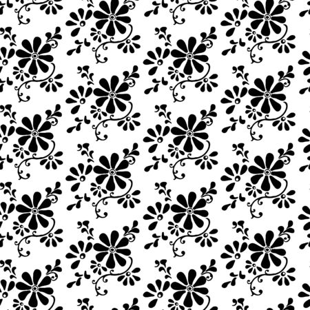black and white seamless pattern of chamomile flowers and swirls. decorative hand-painted.  Vector