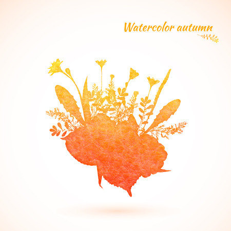 Autumn yellow-orange watercolor painted vector foliage banner Vector
