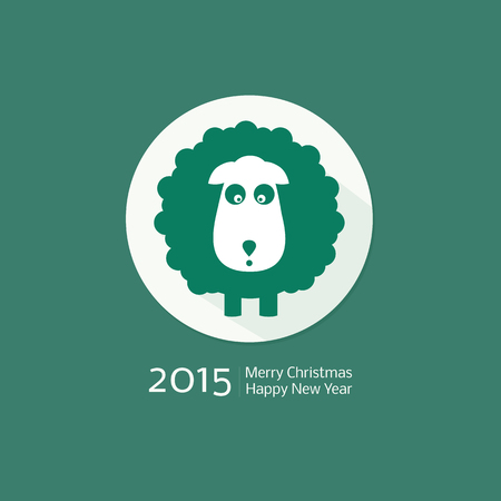 Chinese Zodiac 2015 - Year of the Sheep, Ram, Goat. Flat style. Merry Christmas decoration. Happy New year background. Design element Vector