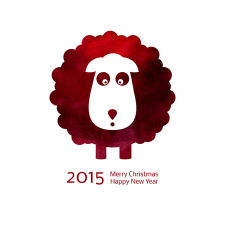 Chinese Zodiac 2015 - Year of the Sheep, Ram, Goat. Watercolor. Merry Christmas decoration. Happy New year background. Design element Vector