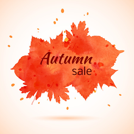 ed: ed and orange watercolor banner of leaves. Autumn sale. Vector.