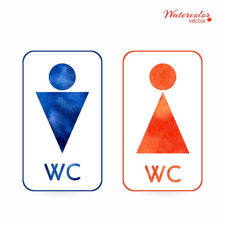 changing room: Watercolor signs - toilet, changing room, male, female, wc Illustration