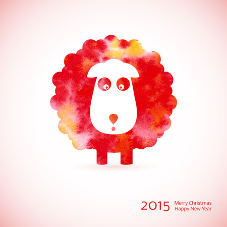 Chinese Zodiac 2015 - Year of the Sheep, Ram, Goat.Watercolor. Merry Christmas decoration. Happy New year background. Design element Vector