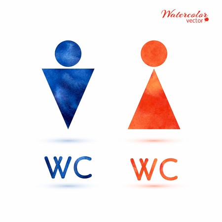 Watercolor signs - toilet, changing room, male, female, wc Illustration